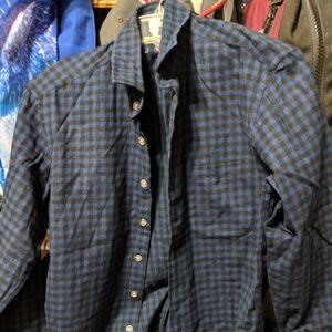 Frank & Oak Dark Blue Plaid Shirt